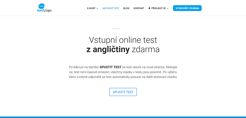 Vstupní online test EasyLingo