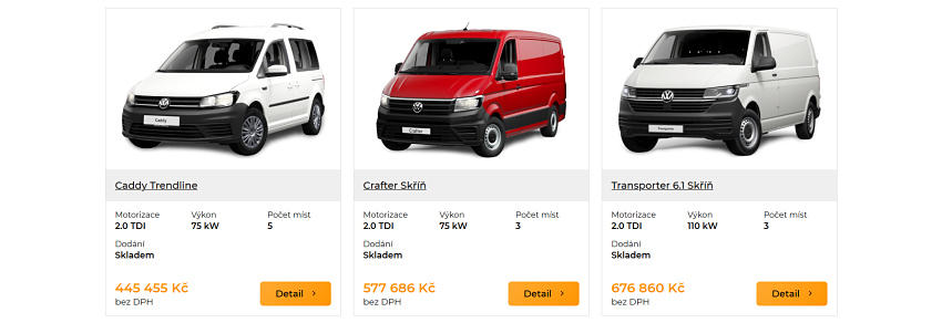 Prodej užitkových vozidel OlfinCar - ukázka