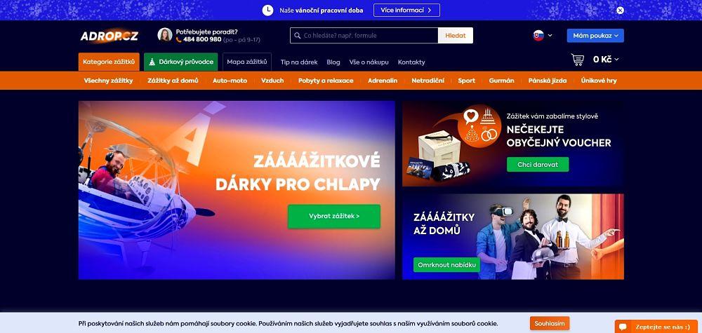 Ukázka úvodní stránky Adrop.cz
