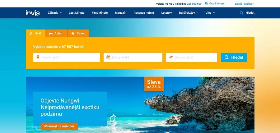 Homepage Invia.cz
