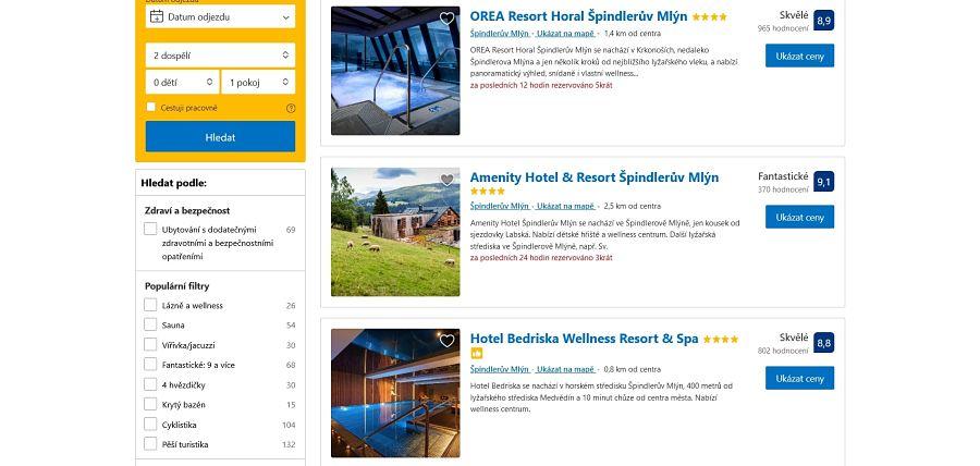 Ukázka nabídky ubytování na portálu Booking.com pro destinaci Špindlerův Mlýn