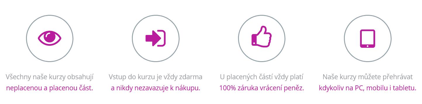 Hlavní výhody kurzyproradost.cz